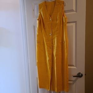 Yellow 100% linen dress